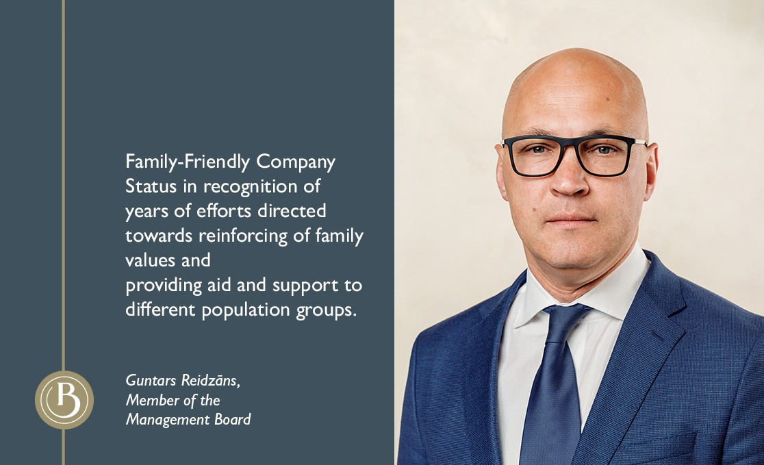 The Ministry of Welfare Awards Baltic International Bank the Family-Friendly Company Status