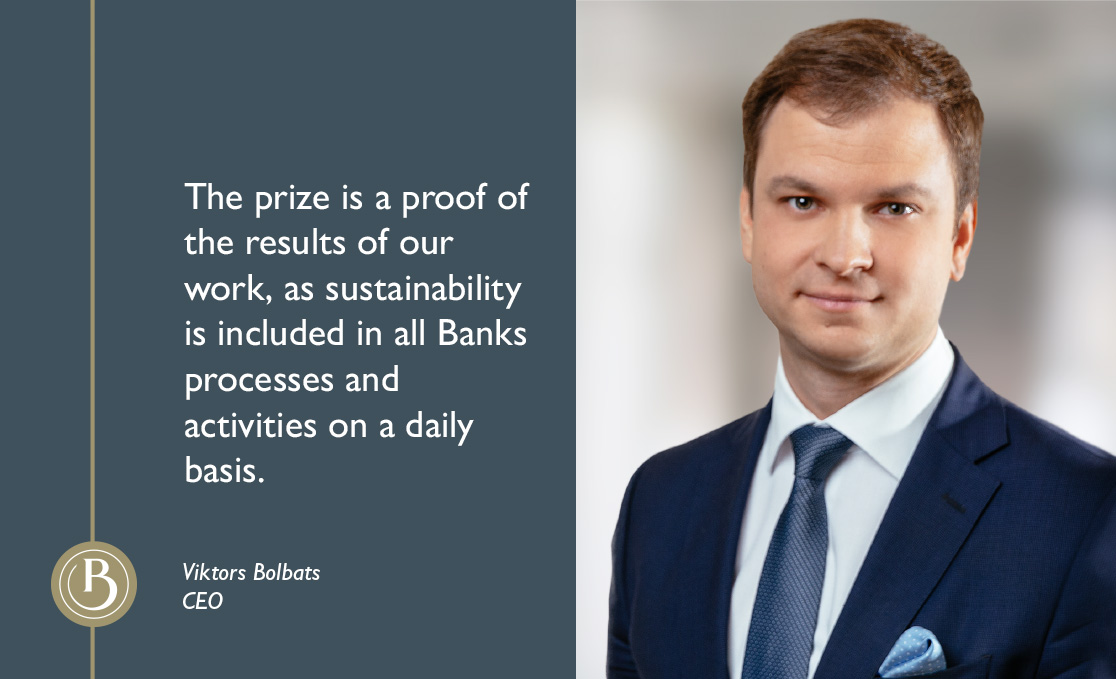 The highest scoring category – Platinum Category – on the annual Sustainability Index was awarded to Baltic International Bank